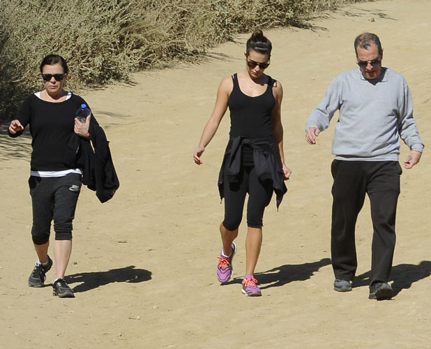 Lea Michele out for a hike on Runyon Canyon with her father Marc Sarfati and mother Edith Sarfati, 3 February 2014
