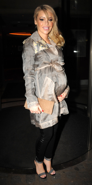 Pregnant Katie Piper attends London Fashion Week Autumn/Winter 2014, 15 February 2014