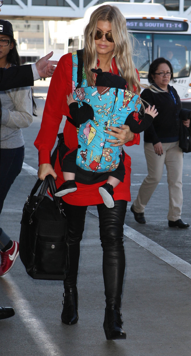 Fergie Duhamel and Axl Jack at LAX airport, Los Angeles, America - 10 Feb 2014
