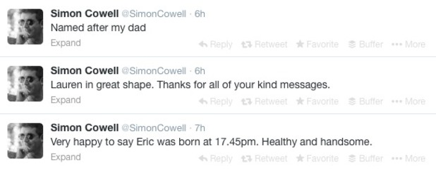 Simon Cowell announces the birth of his son Eric to his Twitter followers, 15 February 2014