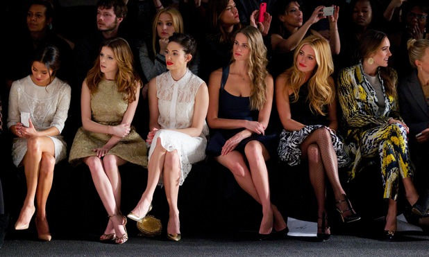 Jamie Chung, Anna Kendrick, Emmy Rossum, Julie Henderson, Cat Deeley and Louise Roe - Monique Lhuillier Fall 2014 show at New York Fashion Week - 8 February 2014