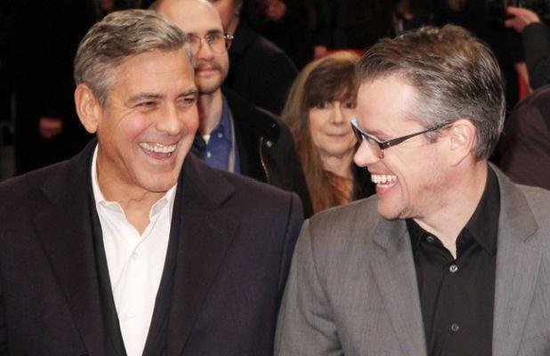 George Clooney, Matt Damon, The Monuments Men, London, February 2014