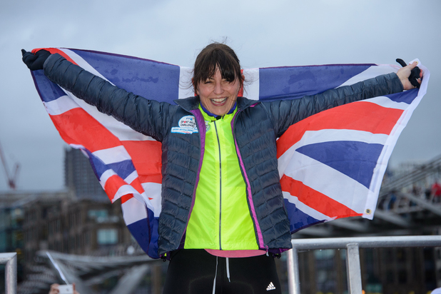 Davina McCall's BT Sport Relief challenge: Beyond Breaking Point - Finish and Photocall - 14 February 2014
