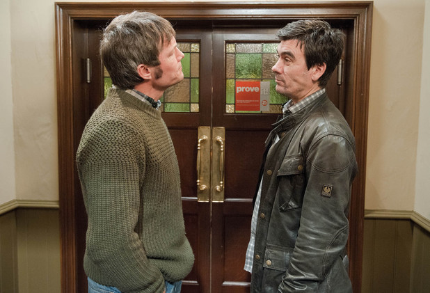 Emmerdale, James and Cain square up, Tue 11 Feb