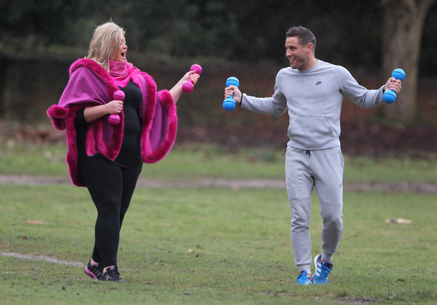 Gemma Collins and Elliott Wright go for a work out while filming takes place for the new series of 'The Only Way is Essex' - 12/02/2014