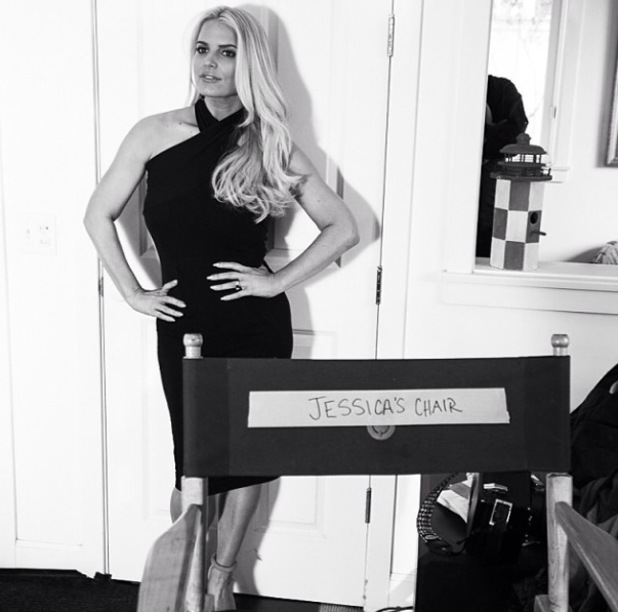 Jessica Simpson in black dress on set for new Weight Watchers advert - 8.2.2014