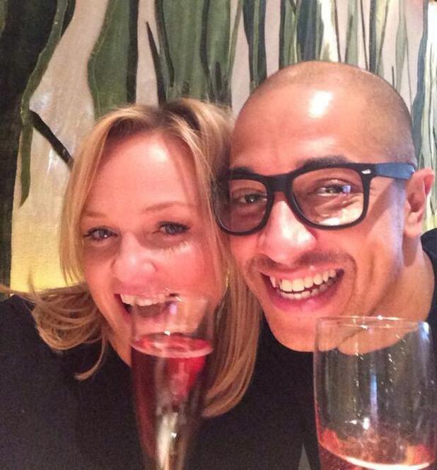 Emma Bunton celebrates her fiancé Jade Jones' birthday with a meal in London (12 February).