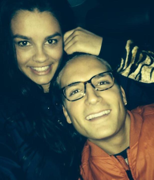 Made In Chelsea's Oliver Proudlock and girlfriend Grace McGovern pose for a selfie - February 2014