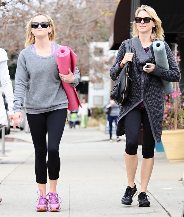 Naomi Watts and Reese Witherspoon leaving their yoga class in Brentwood wearing no make-up