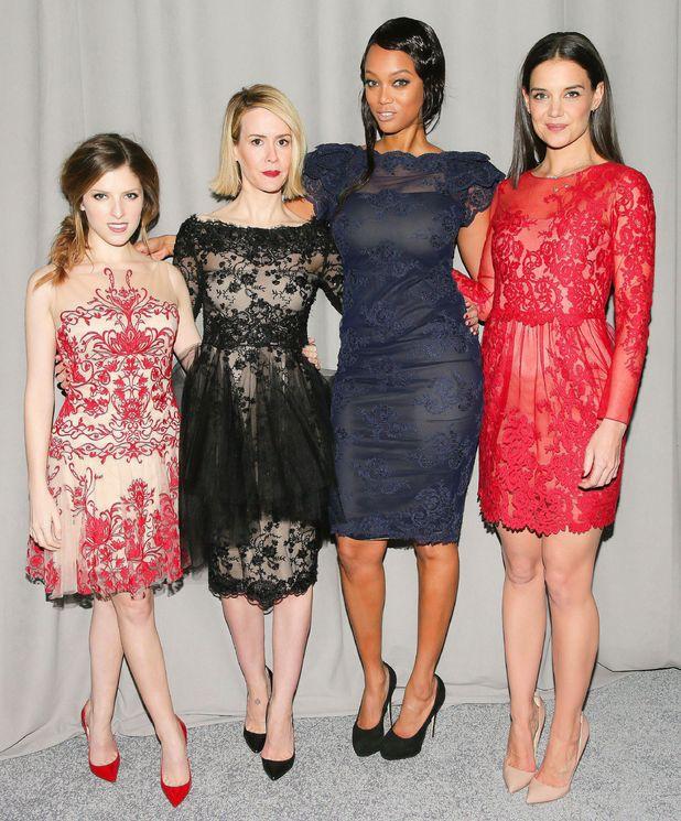 Katie Holmes, Anna Kendrick, Sarah Paulson and Tyra Banks at the Marchesa autumn/winter 2014 show at New York Fashion Week - 12 February 2014