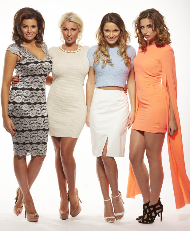 JESS WRIGHT, BILLIE FAIERS, SAM FAIERS AND FERNE McCANN in new promo shot for the 11th series of TOWIE, starting in February 2014