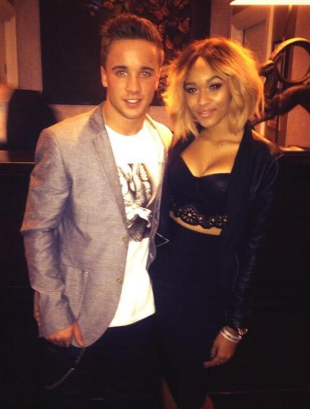X Factor's Sam Callahan pictured out with girlfriend Tamera Foster on 10 December 2013.