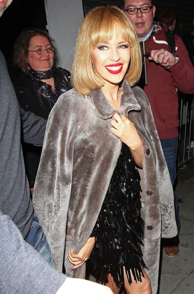 Kylie Minogue leaving the Old Blue Last Pub in Shoreditch, London, Britain - 13 February 2014