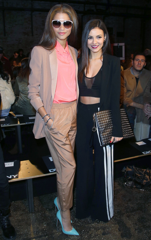 Zendaya and Victoria Justice at the DKNY autumn/winter 2014 show at New York Fashion Week - 9 February 2014