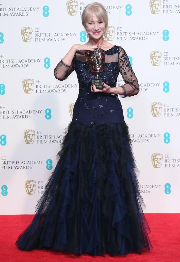 Dame Helen Mirren, EE British Academy Film Awards, Press Room, Royal Opera House, London, Britain - 16 Feb 2014