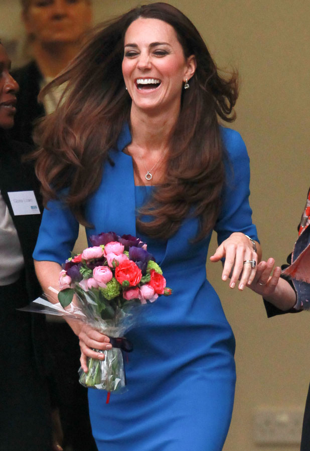 Catherine, Duchess of Cambridge departs Northolt High School after visiting their art department, 14 February 2014