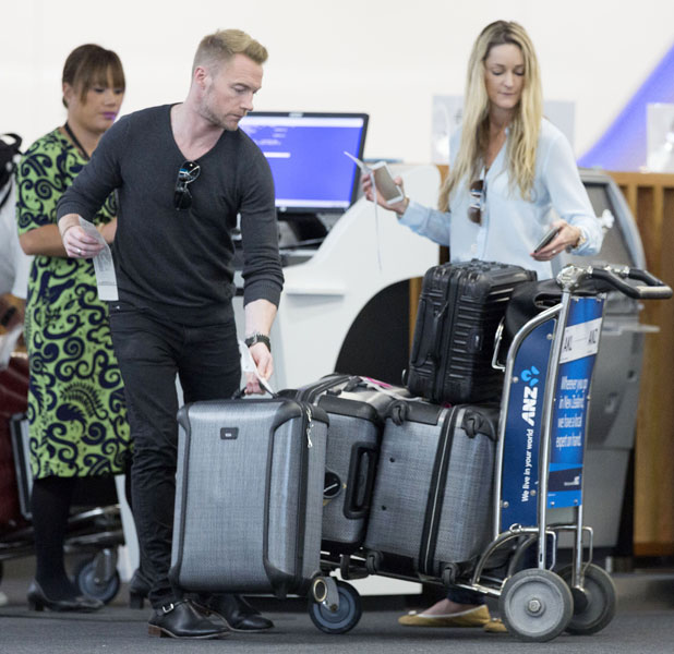 Ronan Keating and Storm Uechtritz at Auckland Airport, New Zealand - 13 Feb 2014