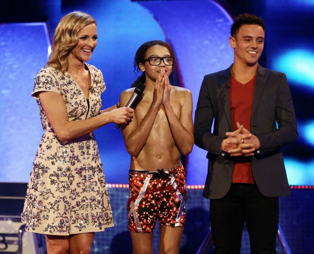 Perri Kiely, Tom Daley and Gabby Logan on 'Splash' TV Programme, Luton, Britain. - 15 Feb 2014