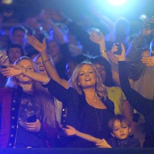 Emma Bunton and son support Daddy Jade Jones as Damage perform at Big Reunion Concert, Hammersmith Apollo, London - 21 Feb 2014