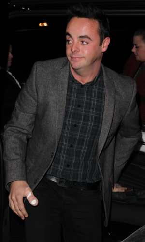 Anthony McPartlin seems to have injured his thumb as he arrives at the filming of Celebrity Juice with it in a medical plaster. 02/17/2014 London, United Kingdom.