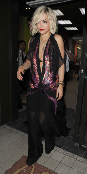 Rita Ora leaves McDonald's in London wearing a Gucci dress - 16 February 2014