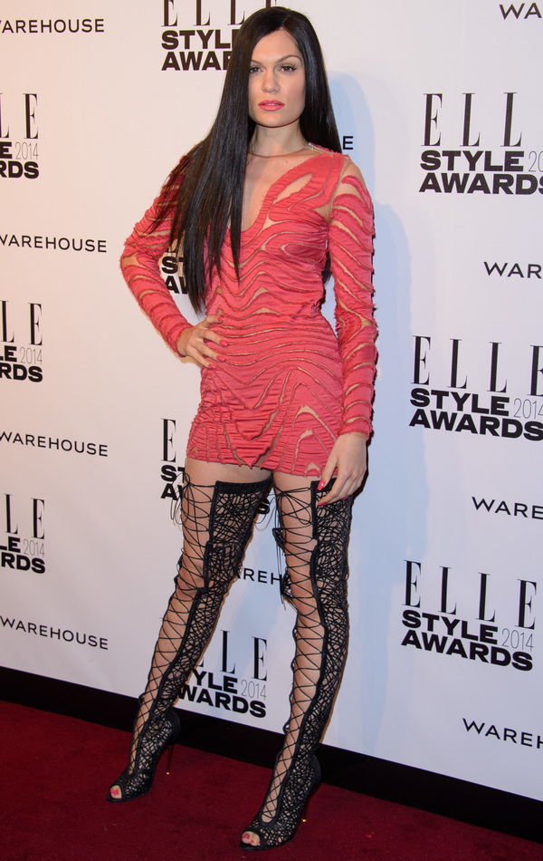 Jessie J wears thigh high boots and pink mini dress to the Elle Style Awards - London, 18th Feb 2014