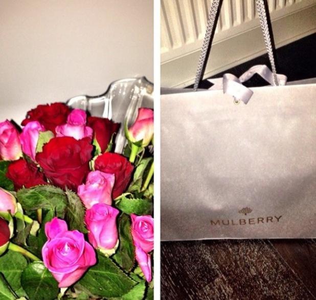 Imogen Thomas in Valentine's Day spirit - gifts from boyfriend - 14.2.2014
