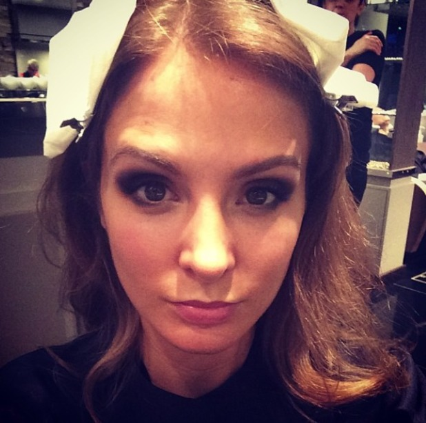 Millie Mackintosh gets her makeup done for London Fashion Week