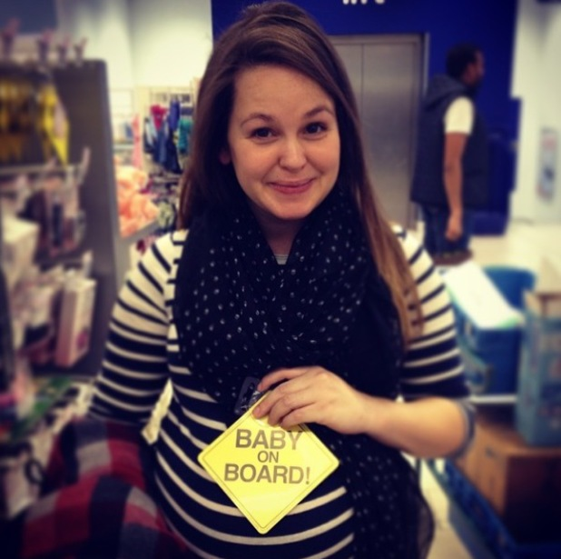 Giovanna Fletcher poses with her big baby bump - February 2014