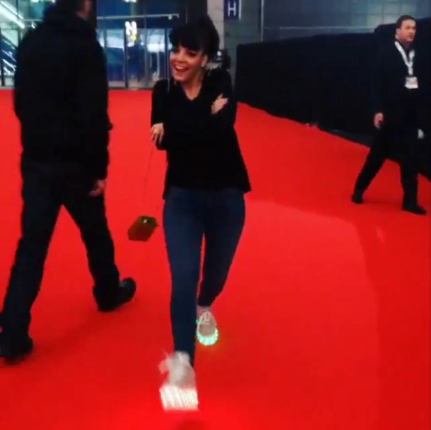 Lily Allen wears Buffalo trainers on Brits red carpet - 19 Feb 2014