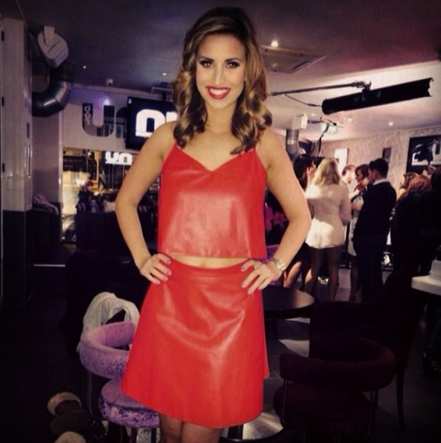 TOWIE's Ferne McCann in red leather outfit - February 2014