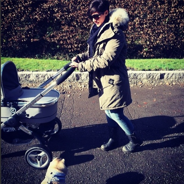 Frankie Sandford takes baby son Parker for a walk - Feb 2014