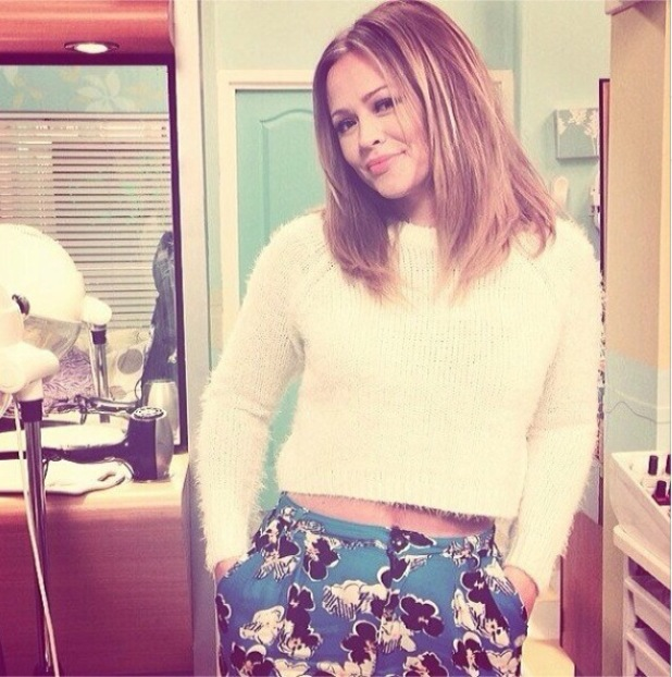 Kimberley Walsh poses in Audrey's hair salon on the set of Coronation Street. (17 February 2014).