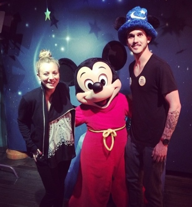 Kaley Cuoco and husband Ryan Sweeting enjoyed a fun-filled trip to Disneyland over the weekend to celebrate their honeymoon. (15 February 2014).