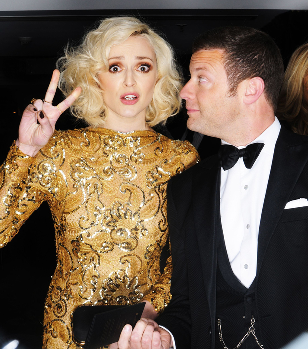 Fearne Cotton and Dermot O'Leary: EE British Academy Film Awards, Selfie Booth, Royal Opera House, London, Britain - 16 Feb 2014