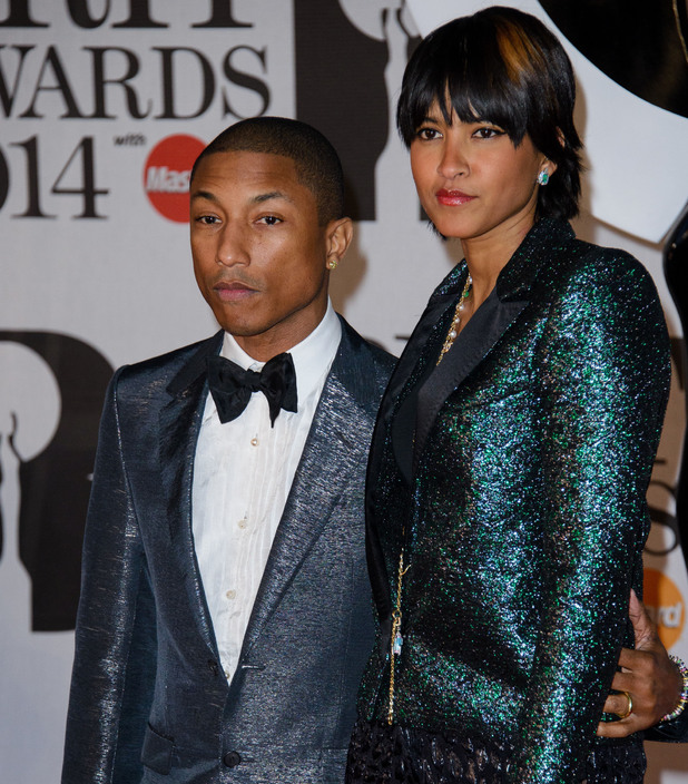 Pharrell Williams and wife Helen at The Brit Awards (Brit's) 2014 held at the O2 - Arrivals - 19 Feb 2014