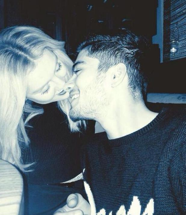 One Direction's Zayn Malik with fiancée Perrie Edwards on Valentine's Day (18 February).