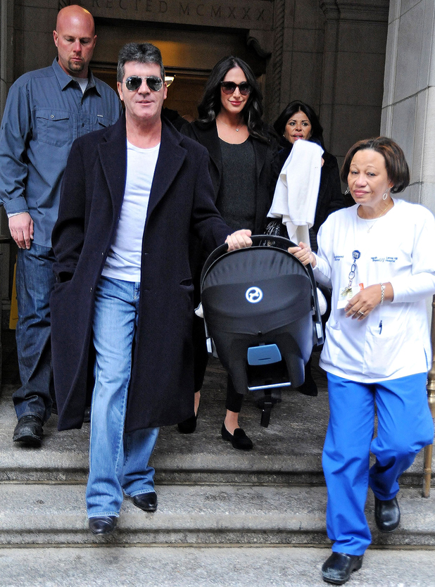 Simon Cowell and Lauren Silverman take baby Eric home from hospital, New York, America - 16 Feb 2014