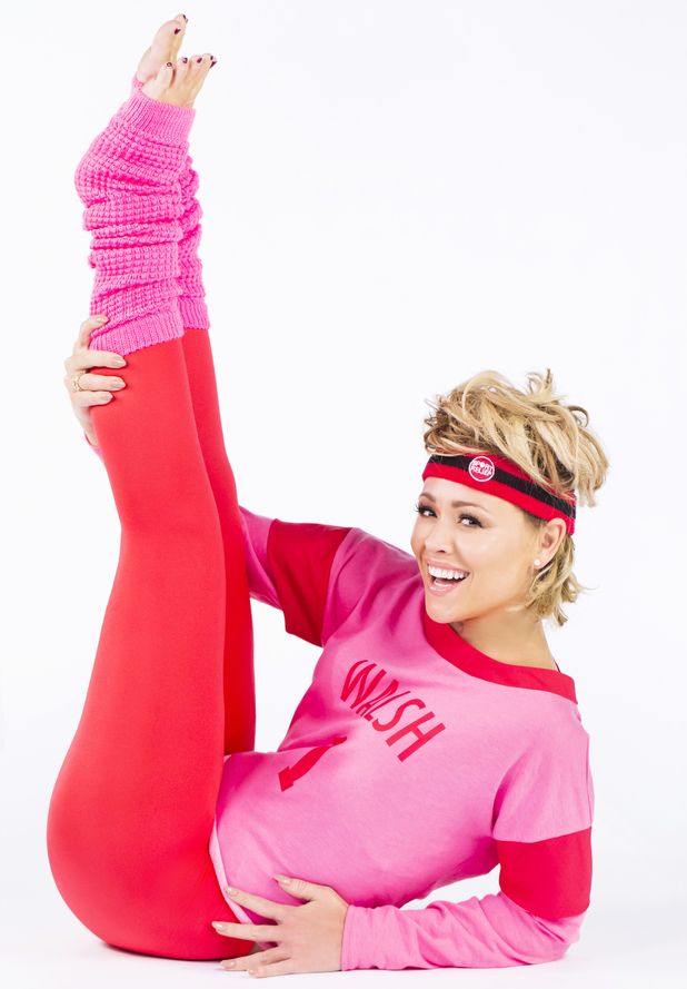 Kimberley Walsh recreates Olivia Newton-John's iconic pose from her video 'Physical' to launch the official Sport Relief Headband, now available in Sainsbury's stores nationwide. February 2014