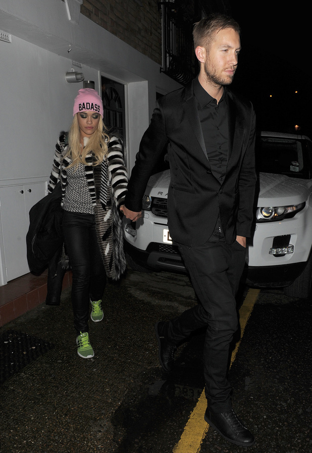Rita Ora attends Brit Awards after party with boyfriend Calvin Harris and then heads homes, London - 19.2.2014