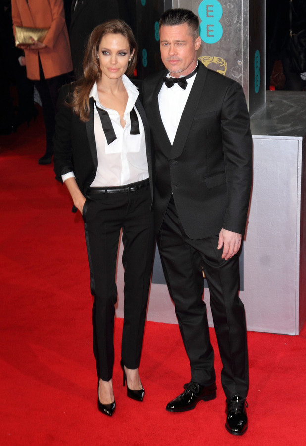 Angelina Jolie and Brad Pitt at the BAFTAs 2014 held at the Royal Opera House in London - 16 February 2014