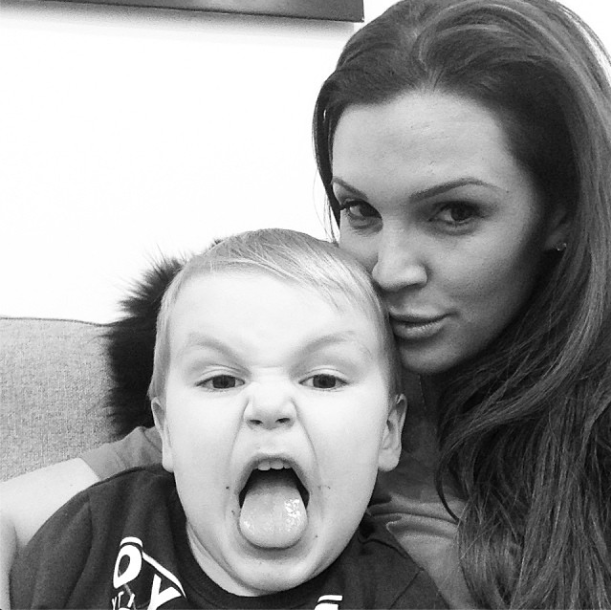 Danielle Lloyd and her son in London