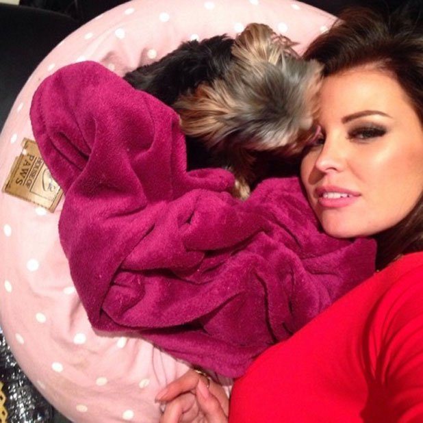Jessica Wright shares a sweet picture of herself and dog Bella, 18 February 2014