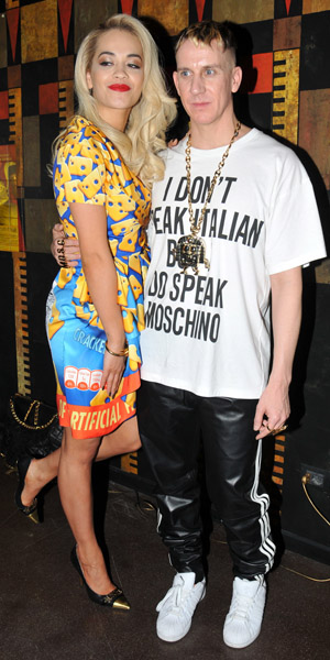 Rita Ora and Jeremy Scott at Milan Fashion Week on 20 February 2014