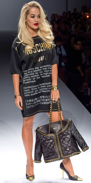 Rita Ora walks the Moschino catwalk for Milan Fashion Week on 20 February 2014