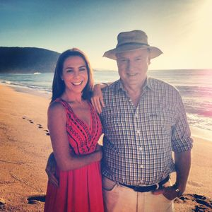 Kate Richie on location of Australian soap Home And Away with Ray Meagher, aka Alf Stewart