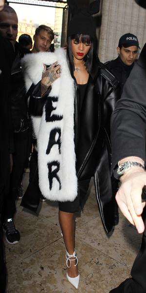 Rihanna in FEAR shrug at the Comme des Garcons show, Autumn Winter 2014, Paris Fashion Week - 01 Mar 2014