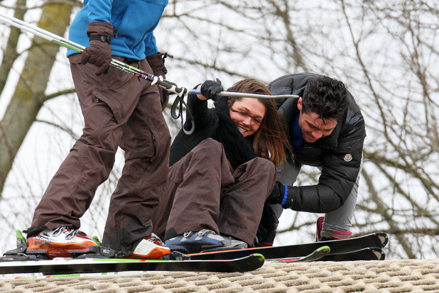 TOWIE stars at the Ski and Snowboard Centre Slopes, Brentwood, Essex, Britain - 25 Feb 2014 Tom Pearce and Fran Parman during a ski lesson