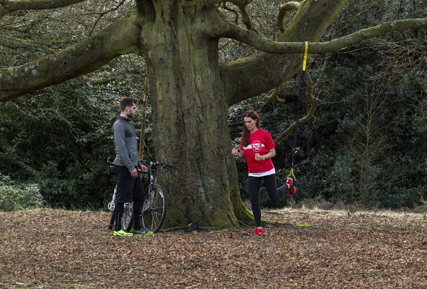 Danielle O'Hara training with her personal trainer in the lead-up to her 25 mile Sport Relief Cycle event - Birmingham - 25.2.2014