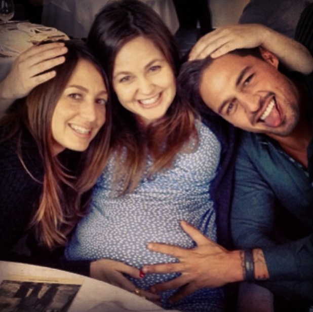Mario Falcone joins Tom Fletcher and pregnant Giovanna for lunch with Charlie Sims - 25 Feb 2014